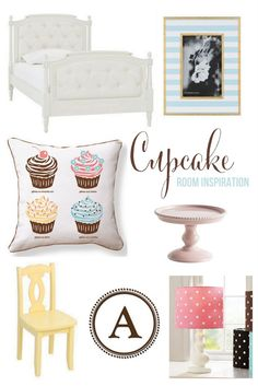 Big girl room: color inspiration, upholstered bed (not the cupcakes though!)