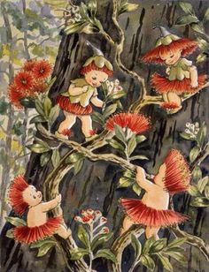 Australian writer May Gibbs and her postcard illustration of gumnut babies found Vintage Fairies, Vintage Art, Bebe Nature, Elves And Fairies, Australian Art, Australian Vintage, Australian Painting, Flower Fairies, Fairy Art