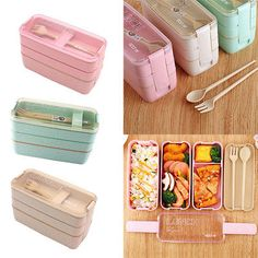 Lunch Bento Box Containers with Cutlery Stackable Boxes Leakproof | eBay Lunch Box Containers, Containers For Sale, Plastic Lunch Boxes, Cute Lunch Boxes, Food Storage Containers, Gourmet Recipes, Healthy Recipes, Healthy Snacks, Boite A Lunch