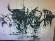 Charging Bulls #art #painting KatyJadeDobsonArt