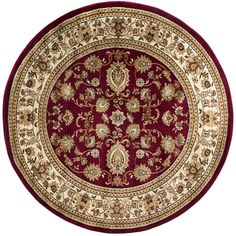 Sensation Red 7 ft. 10 in. Traditional Round Area Rug