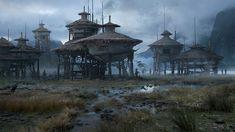 """Post-Apocalypse Now"": Superb Concept Art By Sergey Vasnev Fantasy City, 3d Fantasy, Fantasy Places, Fantasy Setting, Fantasy World, Concept Art Landscape, Fantasy Concept Art, Fantasy Landscape, Fantasy Artwork"