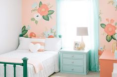 Design Loves Detail (House of Turquoise) I thought this perfectly sweet girl's room by Mollie of Design Loves Detail was a great way to kick off Valentine's Day weekend! Isn't the gorgeous floral wall a total showstopper? She wanted to use Modern Girls Rooms, Teenage Girl Bedrooms, Little Girl Rooms, Girls Bedroom, Bedroom Decor, Bedroom Ideas, Floral Bedroom, Bedroom Wall, Bedroom Furniture