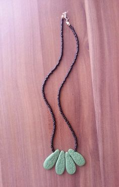 Necklace with polymer clay & black beads