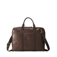 "Fossil Estate Document Bag- A modern take on a vintage briefcase Features: Padded Laptop(up to 15"") sleeve, functional yet slim design, classic style, belted detail, document bag handles and strap for use as messenger, cotton twill liningKeywords: Portable, on the go, organized, versatile, daily necessities, vintage For: Students, Professionals, Casual, Dress Use: Laptop, documents, brief, messenger, everyday"