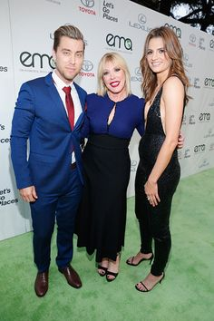 Host Lance Bass Envrionmental Media Assocation President Debbie Levin and actress Stana Katic arrives at Environmental Media Association Hosts Its 25th Annual EMA Awards Presented By Toyota And Lexus at Warner Bros. Studios in Burbank, California on (October 24, 2015)