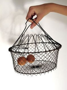 #French #vintage wire fruits or eggs #basket