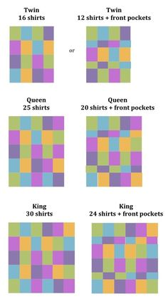 T-Shirt Quilts - good idea of how many shirts it will take. I don't ever want to make a tshirt quilt, but this is good info just in case I change my mind. T-shirt Quilts, Patchwork Quilt, Scraps Quilt, Star Quilts, Fabric Crafts, Sewing Crafts, Sewing Projects, Diy Projects, Sewing Diy