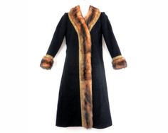 Oscar De La Renta Black Wool and Mink Fur Long Coat by bigbangzero
