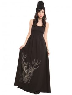 I want this, right now      Gypsy Warrior- Black maxi dress with adjustable spaghetti straps, ribbed banded waist, and deer graphic