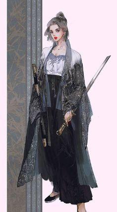 Anime Artwork, Fantasy Artwork, Female Samurai, Character Art, Character Design, Chinese Artwork, Japon Illustration, Japanese Characters, Photo Instagram