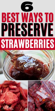 Strawberry season can provide a lot of berries in a very short period of time. Learn how to preserve strawberries to enjoy all year long. Includes preserving strawberries by canning, freezing, dehydrating and more Strawberry Preserves, Free Range, Preserving Food, Food Storage, Berries, Frozen, Beef, Make It Yourself, Canning