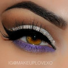 Silver glitter and Purple eyeshadow #eye #eyes #makeup #eyeshadow #dramatic #bright #glitter