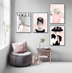 Vogue Posters Audrey Hepburn Print Set of 4 Fashion Wall Art Vogue Cover Magazine Fashion Decor Vogue print Gift For Her fashion random Fashion Wall Art, Fashion Room, Fashion Decor, Fashion Fashion, Trendy Fashion, Audrey Hepburn Room, Audrey Hepburn Poster, Living Room Decor, Bedroom Decor