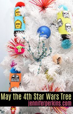 Star Wars Tree by Jennifer Perkins with DIY Pool Noodle Ornaments