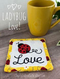 Are you ladybug obsessed? This super cute drink coaster/mug rug is just the one for you! Get one at CharisGiftsofFaith.etsy.com #ladybugcoaster #ladybugmugrug #ladybuglove #ladybuggiftidea Yellow Ladybug, Gift Of Faith, Tulle Bows, Embroidered Gifts, Coffee Lover Gifts, Cute Mugs, Mug Rugs, Towel Set, Hostess Gifts