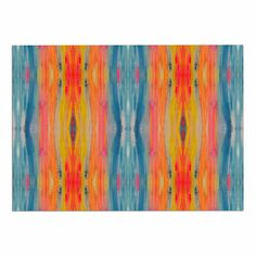 KESS InHouse Nika Martinez 'Boho Tie Dye' Teal Orange Dog Place Mat, 13' x 18' > Special dog product just for you. See it now! : Dog food container