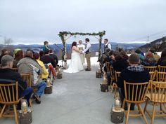 A spectacular view from the North Peak Lodge at Sunday River in Newry, Maine. This wedding was on March 15, 2013 and featured the bride on skis and the groom on a snow board heading down the slopes right after the ceremony!!  Maine Wedding DJ Dave Dionne. www.djsmaine.com www.facebook.com/djsmaine
