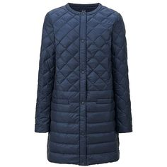 UNIQLO Ultra Light Down Compact Coat (€92) ❤ liked on Polyvore featuring outerwear, coats, collarless coat, blue coat, quilted down jacket, down feather jacket and uniqlo coats