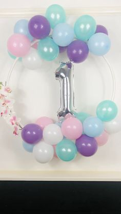 Pastel and Silver Balloon Hoop Decoration Kit - Here we have another balloon hoop that we put together for a customer locally. Birthday Balloon Decorations, Balloon Centerpieces, Birthday Party Decorations, Baby Shower Decorations, 1st Birthday Balloons, Shower Centerpieces, 1st Birthday Party For Girls, Birthday Diy, Unicorn Birthday Parties