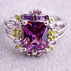 Brilliant Citrine Amethyst Garnet Pink Topaz Gemstone Silver Rings Size 7 8 9 10   eBay