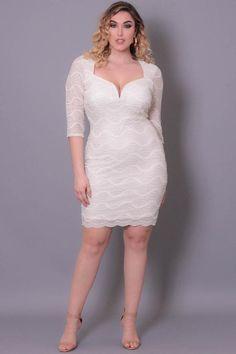 Plus Size Sweetheart Midi Dress - White