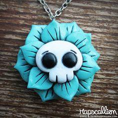 Skull Flower Rose Necklace by rapscalliondesign on Etsy, $18.48