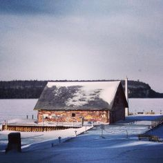 Door County Winter--Anderson Dock in Ephraim, Wisconsin. Door County Wisconsin, Sturgeon Bay, Cross Country Skiing, Dream Vacations, Amazing Places, Barns, Travel Ideas, Airplane View, The Good Place
