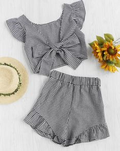 Shop Gingham Frill Trim Bow Tie Back Top With Shorts online. SheIn offers Gingham Frill Trim Bow Tie Back Top With Shorts & more to fit your fashionable needs. Cute Summer Outfits, Kids Outfits, Casual Outfits, Cute Outfits, Fashion Outfits, School Outfits, Summer Clothes, Tee Dress, Mode Inspiration