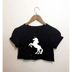 Unicorn Horse Monochrome Black Crop Top T Shirt Festival Hippie Emo... ($15) ❤ liked on Polyvore featuring tops, shirts, crop tee, retro t shirts, crop top, t shirts and hippie shirt