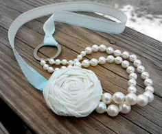 So adorable...So Shabby Chic Fabric Flower Pearl and Ribbon Necklace by LoveDesignsBoutique