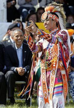 A Native American dancer takes a selfie with President Obama on the Standing Rock Indian Reservation today #PrezRezVisit