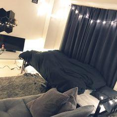 Riuさんの、リビング,IKEA,間接照明,一人暮らし,白黒,モノトーン,LED照明,10畳の部屋,壁掛けミラー,賃貸マンション,のお部屋写真