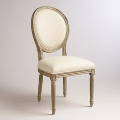 One of my favorite discoveries at WorldMarket.com: Natural Linen Paige Round Back Dining Chairs, Set of 2