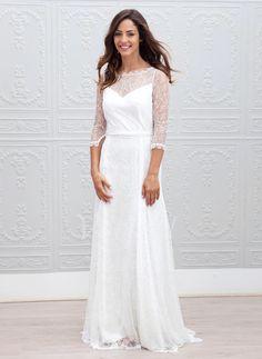 Robes de mariée - $173.99 - Forme Princesse encolure dégagée Traîne Balayage/Pinceau Dentelle Robe de mariée (0025088772)