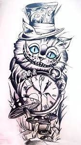 Bildergebnis für Cheshire Cat Zeichnung - Tattoos that I love - Katzen Mad Hatter Drawing, Mad Hatter Tattoo, Cheshire Cat Drawing, Cheshire Cat Tattoo, Tattoo Sleeve Designs, Sleeve Tattoos, Owl Tattoos, Cheshire Cat Zeichnung, Alice And Wonderland Tattoos