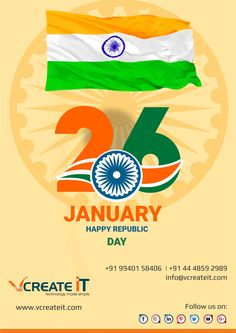 Vcreateit wishes a blessed and Happy 69th republic day 2018 to fellow Indians. Way to reach much more heights to develop our country to prosperous and healthy one in the world.  Jai Hind!!! #26jan #peace #enjoy #jaihind #tricolour #india #indian #hindustan #delhi #1950  http://vcreateit.com/