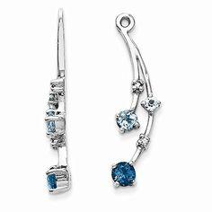 14K White Gold Diamond & Blue Topaz Earring Jackets