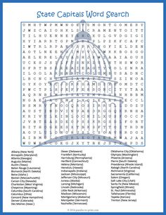 A giant word search that will challenge even the most sharp eyed puzzlers. All fifty state capitals are hidden somewhere in this word find. The state is also written in the word list, but is not hidden in the puzzle. That way students will be learning not only the names of the capitals, but which state they are located in as well.