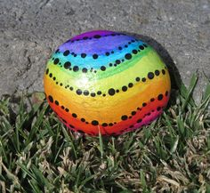 Painted Beach Rock, Rainbow, Black, Metallic, Glossy