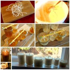 How To Make Healthy Beeswax Palm Candles and Save Money Beeswax and Palm Candles, picture directions Oil Candles, Beeswax Candles, Candle Containers, Cleaners Homemade, Candle Making, Just In Case, Fun Crafts, Saving Money, Diy Projects