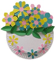 May basket for May Day made from paper flowers and paper plate