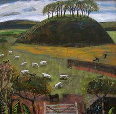 mary sumner Paintings I Love, Seascape Paintings, Landscape Paintings, Sheep Paintings, Green Landscape, Abstract Landscape, Wooly Bully, Naive Art, Art Themes