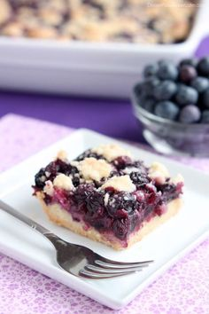 Blueberry Crumb Bars - buttery crumb crust, juicy, plump blueberry filling, all topped with more buttery streusel for a delicious bar treat!