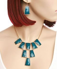 Teal Faceted Bib Necklace & Earrings #zulily #zulilyfinds $12.99