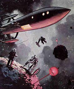 Retro Future - Jack Coggins, Mining an Asteroid (May Galaxy Science Fiction - US ; Science Fiction Kunst, Science Fiction Magazines, Classic Sci Fi, Vintage Space, Vintage Art, Sci Fi Books, Pulp Art, Sci Fi Fantasy, Sci Fi Art