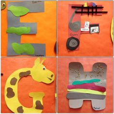 E is for Earth. F is for Fire truck. G is for Giraffe. H is for Hamburger. Preschool letter or alphabet crafts.