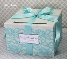 Wedding Card Box Ivory and Aqua Blue Lace Wedding by LittleDivine