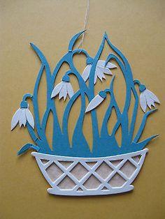 Fensterbild aus Tonkarton Frühling Schneeglöckchen filigran neu (2)