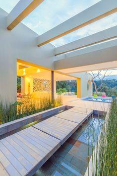 Ocobos House by David Macias Arquitectura & Urbanismo - MyHouseIdea Residential Architecture, Interior Architecture, Tropical, David, Outdoor Living, Outdoor Decor, Purple Flowers, South America, Outdoor Gardens